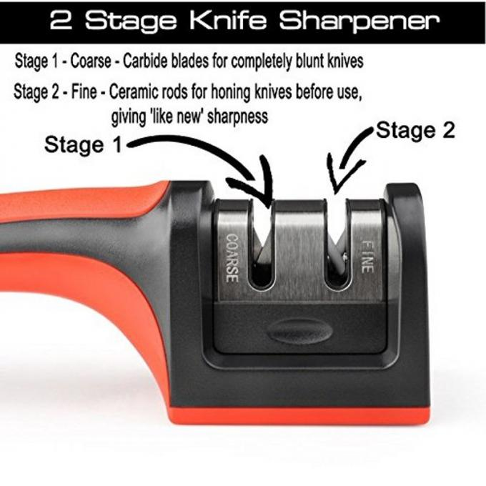 Knife Accessories Kitchen Knife Sharpener , Hunting Knife Sharpener With TPR Handle