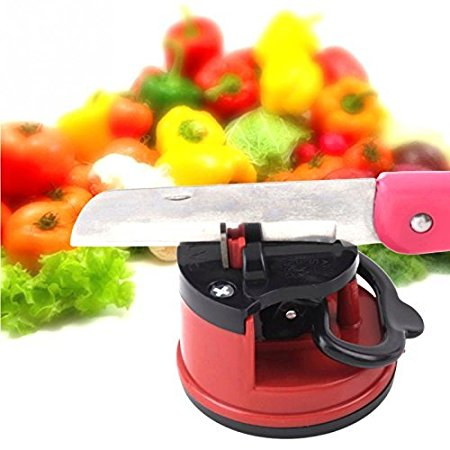 Red Mini Suction Cup Knife Sharpener Tungsten Blade For Promotional Gifts